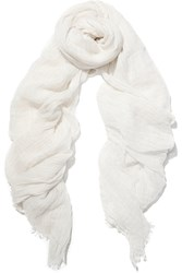 Donna Karan Cashmere And Silk Blend Scarf White