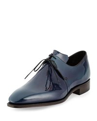Corthay Arca Patent Leather Derby Shoe With Blue Patina Navy
