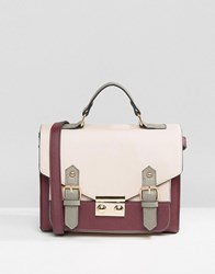 Asos Colour Blocked Satchel Bag Burgundy And Pink Multi