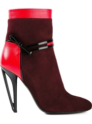 Fendi Bow Stap Ankle Boots Red