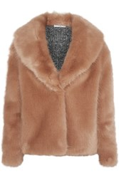 Opening Ceremony Ribbed Knit Paneled Faux Fur Jacket Blush