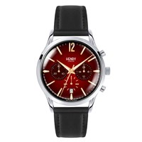 Henry London Men's 41Mm Chancery Chronograph Leather Watch Black Red Gold