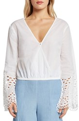 Willow And Clay Poplin Faux Wrap Top Vellum