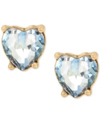 Betsey Johnson Gold Tone Blue Stone Heart Stud Earrings