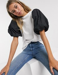 Influence T Shirt With Puff Polka Dot Sleeve White