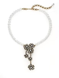 Heidi Daus Itty Bitty Flowers Faux Pearl And Swarovski Crystal Necklace Gold White