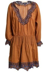 Vanessa Bruno Woman Embroidered Gauze Mini Dress Camel