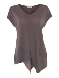 Label Lab Front V Neck Chiffon Mix Jersey T Shirt Grey