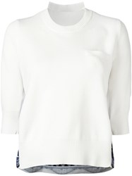 Sacai Tribal Lace Embroidered Jumper White