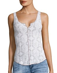 Free People Crinkled Floral Lace Cami White