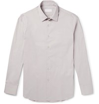 Prada Slim Fit Stretch Cotton Blend Poplin Shirt Gray