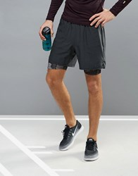 New Look Sport Double Layer Running Shorts In Black Black