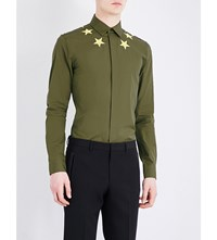 Givenchy Embroidered Neckline Regular Fit Cotton Shirt Olive Green
