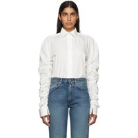 Toteme Off White Poplin Gathered Sleeves Blouse