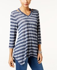 Styleandco. Style Co. V Neck Handkerchief Hem Top Only At Macy's Cold Stripe Blue
