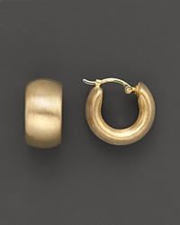 Bloomingdale's 14K Gold Wide Band Matte Hoop Earrings With Satin Finish No Color