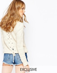 Stitch And Pieces Cable Knit Jumper With Lace Up Back Cream