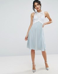 Elise Ryan Midi Dress With Crochet Lace Bodice Blue