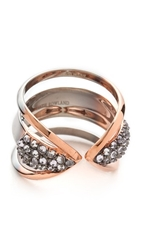 Katie Rowland Zelle Chunky Dip Dye Ring Silver Rose Gold Rhodium