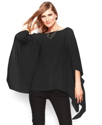 Vince Camuto Butterfly Sleeve Chiffon Poncho Rich Black