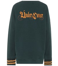 Undercover Embroidered Cotton Sweatshirt Green