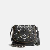Coach Western Rivets Saddle Bag 17 In Glovetanned Leather Black Copper Black