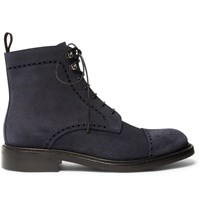 O'keeffe Felix Pebble Grain Suede Brogue Boots Blue