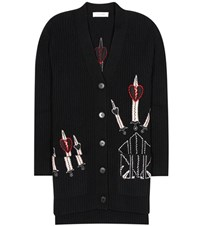Valentino Embroidered Wool And Cashmere Cardigan Black