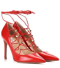 Valentino Rockstud Leather Lace Up Pumps Red