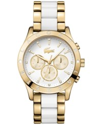Lacoste Women's Charlotte Gold Tone Stainless Steel And White Tr90 Bracelet Watch 40Mm 2000963