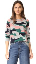 Chinti And Parker Camo Intarsia Sweater Forest Green Multi