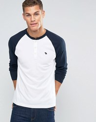 Abercrombie And Fitch Henley Long Sleeve Baseball Top With Contrast Sleeves In White White Navy