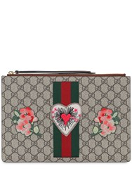 Gucci Gg Supreme Heart Patch Pouch