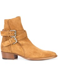 Amiri Side Buckle Ankle Boots Brown