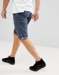 Esprit Slim Fit Low Rise Short With Drawstring In Stripe Blue