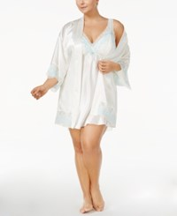 Flora Nikrooz By Plus Size Adore Charmeuse And Lace Kimono Robe Ivory