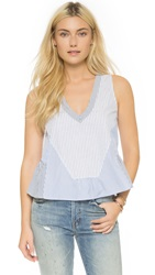 Twelfth St. By Cynthia Vincent Swing Ruffle Top Blue Stripe