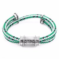 Anchor And Crew Green Dash Larne Silver Rope Bracelet Silver Green