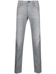 Emporio Armani Piped Straight Leg Jeans Grey