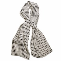 Louise And Zaid Ivory And Black Silk Crepe De Chine Scarf Black White