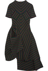 J.W.Anderson Draped Striped Cotton Crepe Dress Black