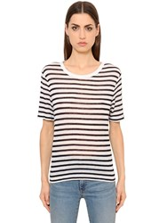 Alexander Wang Striped Rayon Linen Blend Jersey T Shirt