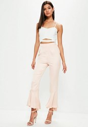 Missguided Tall Premium Pink Satin Soft Frill Hem Trousers Nude
