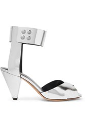 Isabel Marant Etoile Meegan Metallic Leather Sandals Silver