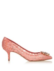 Dolce And Gabbana Crystal Embellished Lace Pumps Light Pink