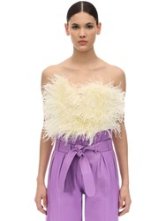 Attico Strapless Feather Embellished Top Light Yellow