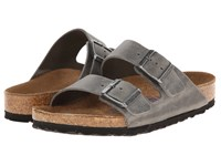 Birkenstock Arizona Soft Footbed Leather Unisex Iron Sandals Brown