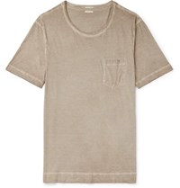 Massimo Alba Panarea Garment Dyed Cotton Jersey T Shirt Mushroom