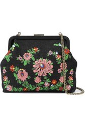 Clare V. Woman Flore Embroidered Canvas And Leather Shoulder Bag Black