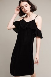Anthropologie Open Shoulder Velvet Midi Dress Black